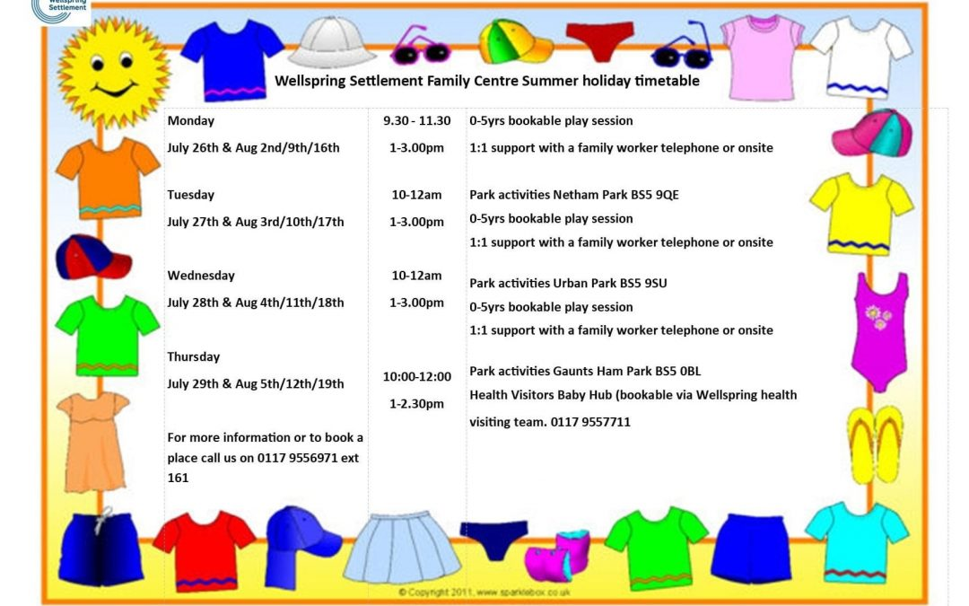 Family Centre summer activities